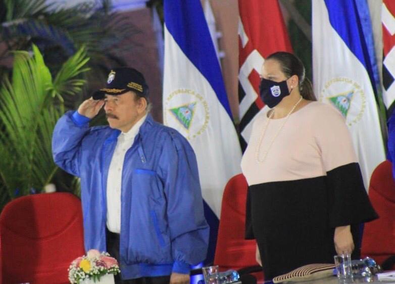 Daniel Ortega y ministra de Gobernación María Amelia Coronel